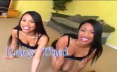 Duas irmãs asiáticas compartilhando uma grande pica