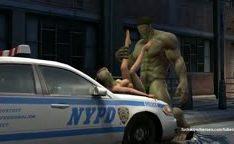 Hulk quebra e fode uma vagina apertada em cima do carro