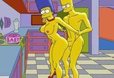 Bart Simpson fode sua mãe Marge na cozinha